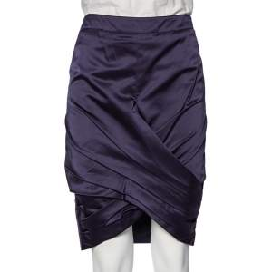 Burberry Navy Blue Satin Pleated Wrap Detail Pencil Skirt S