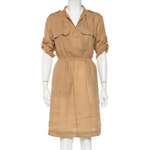 Burberry Brit Beige Ramie Elastic Waist Detail Dress S