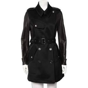 معطف مطر بربري بريت حزام حزام جلد وقطن أسود مقاس متوسط