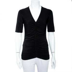 Burberry Black Jersey Ruched V-Neck Top S