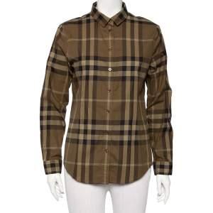 Burberry Brit Green Checkered Cotton Button Front Shirt M