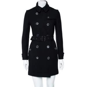 معطف بربري بريت صوف أسود بحزام بصفين أزرار مقاس صغير - سمول