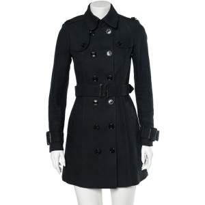 معطف بربري ترينش كانفاس أسود بأزرار مزدوجة مقاس متوسط - ميديوم