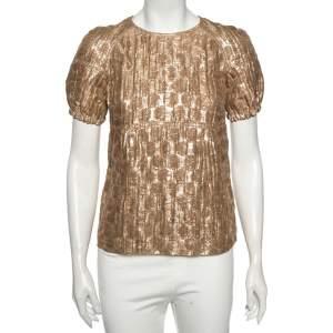 Burberry Metallic Silk Puffed Sleeve Detail Blouse S