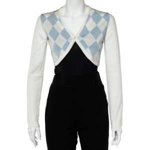 Burberry White Argyle Cotton Knit Cropped Cardigan S