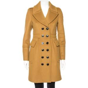 Burberry Ochre Brown Cashmere Wool Mid Length Coat S