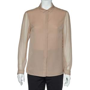 Burberry Tan Silk Crepe Long Sleeve Button Front Blouse S