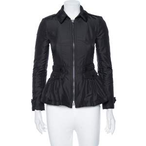 Burberry Black Synthetic Cinched Waist Detail Zip Front Jacket XS