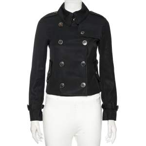 Burberry Black Wool Double Breasted Cropped Trench Jacket S