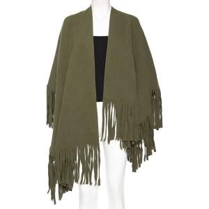 Burberry Olive Green Wool Fringed Blanket Poncho (One Size)