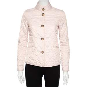 Burberry Pink Cotton Quilted Button Front Jacket XS
