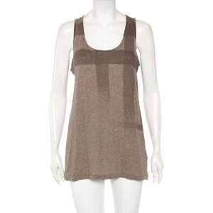 Burberry Brit Taupe Checkered Knit Sleeveless Top M