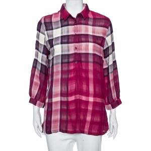 Burberry Pink Exploded Plaid Cotton Tunic M