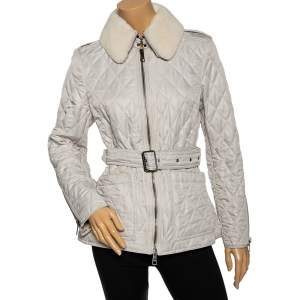 Burberry Light Grey Synthetic Diamond Quilted Contrast Collar Jacket M