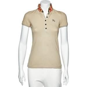 Burberry Beige Cotton Knit Nova Check Ruffled Collar Detail Polo T-Shirt XS