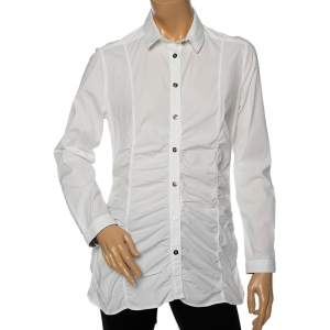 Burberry White Cotton Ruched Waist Button Front Shirt M