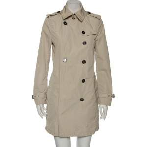 Burberry Light Beige Synthetic Double Breasted Belted Trench Coat M