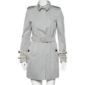 معطف بربري روتشستر ترينش قطن رصاصي بحزام مقاس متوسط - ميديوم