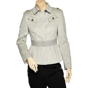 Burberry Grey Cashmere & Wool Smocked Peplum Jacket M