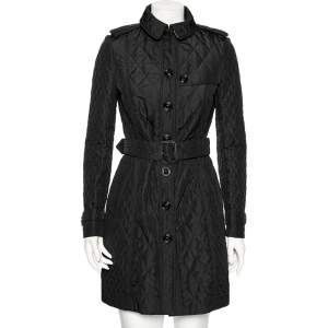Burberry Black Synthetic Quilted Long Belted Coat S