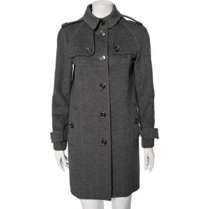 Burberry Grey Wool Epaulette Detail Buttoned Coat S