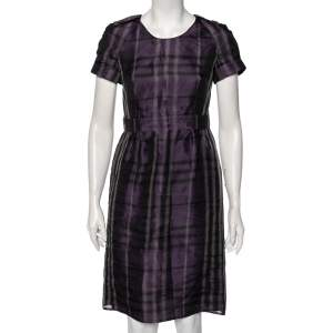Burberry Purple Nova Check Organza Silk Anamaria Dress S
