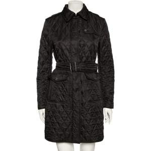 Burberry Brit Black Diamond Quilted Belted Jacket M