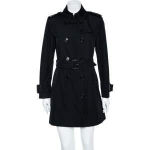 Burberry Black Cotton Double Breasted Belted Trench Coat M