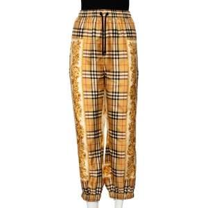 Burberry Dull Gold Scarf Border Vintage Check Silk Pants L