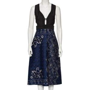 Burberry Blue-Black Paisley Printed Cotton Cutout Detailed Dress S