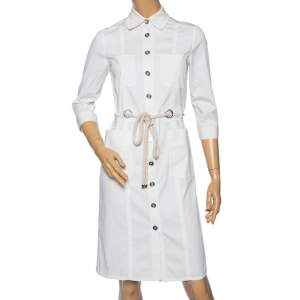 Burberry White Cotton Button Front Belted Shirt Dress S
