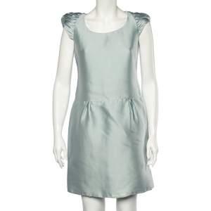Burberry Prorsum Light Blue Sateen Gathered Detailed Short Dress M