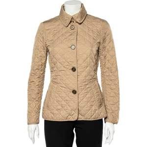Burberry Beige Synthetic Quilted Button Front Jacket S