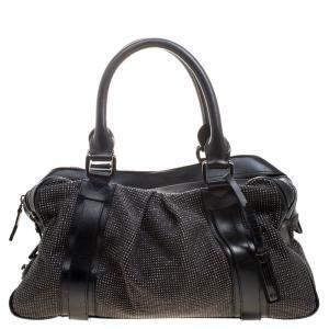 حقيبة بربري اشبري نايت مرصعة جلد سوداء