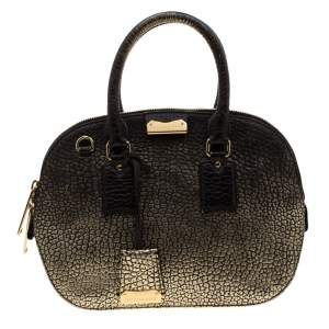 Burberry Gold/Black Ombre Leather Small Orchard Bowler Bag