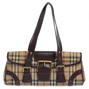 Burberry Brown Haymarket Check Coated Canvas and Leather Flap Shoulder Bag