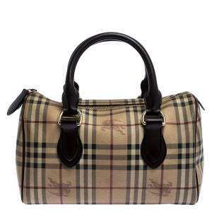 Burberry Brown Canvas Leather Horse Ferry Check Boston Bag