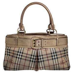 Burberry Beige/Gold Haymarket Check Coated Canvas and Leather Bridle Tote