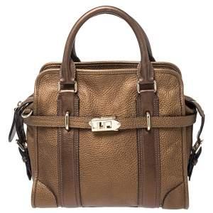 حقيبة بربرى يد علوية جلد بنية ميتالك