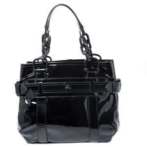 حقيبة يد بربري سلسلة جلد لامع أسود