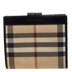 محفظة بربري طية مزدوجة كانفاس كاروهات سوداء /بيج