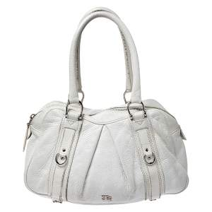 Burberry White Leather Ashbury Satchel