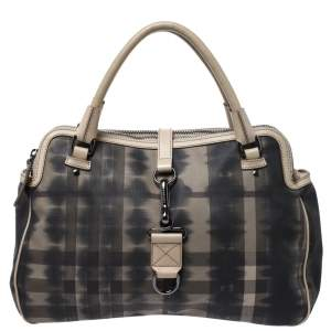 Burberry Off White/Black Smoked Check Coated Canvas and Leather Chain Lock Bowling Bag