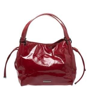 حقيبة يد بربرى بيلمور متوسطة جلد لامعة حمراء