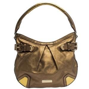 حقيبة بربرى هارتلى جلد ذهبية