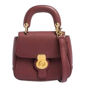 Burberry Burgundy Leather Mini DK88 Top Handle Bag