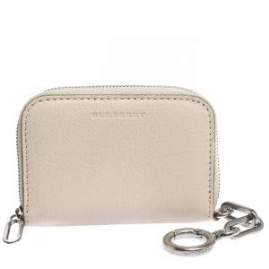Burberry Beige Leather Burberry Zip Wallet