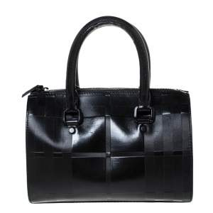 Burberry Black Embossed Check Coated Canvas and Leather Alchester Bowler Bag