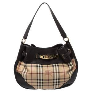 Burberry Dark Brown/Beige Haymarket Check PVC and Leather WIllenmore Hobo