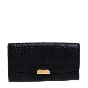 Burberry Black Embossed Check Leather Continental Wallet